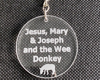 Line of Duty Inspired Keyring - Ted Hastings, Jesus, Mary & Joseph and the Wee Donkey, Sucking Diesel, Mother of God, Fathers Day Gift