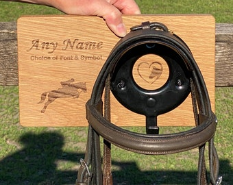 Personalised Bridle Hook Solid Oak, Choice of Design, Bridle Holder, Bridle Rack, Custom Horse Tack, Equestrian Gift, Horse Gift, Pony Gift