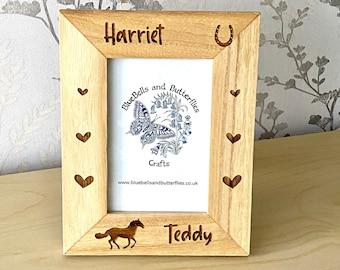Personalised Horse Photo Frame, Horse Frame, Horse Gift, Pony Gift, Equestrian Gift, Horse Keepsake, Custom Horse Riding, Wooden Photo Frame