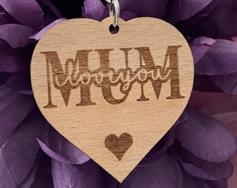 Personalised Mum or Mom, I Love You Heart Keyring - Double Sided