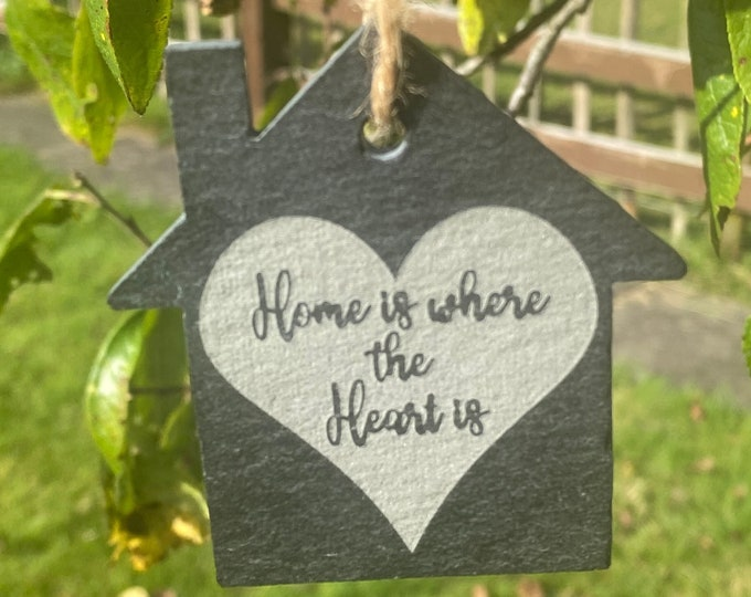 Featured listing image: Home Is Where The Heart Is Sign, Hanging Slate Sign, House Shape Sign, New Home Gift, Housewarming Gift, New House Gift, Moving In Gift