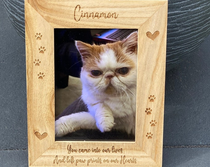 Featured listing image: Personalised Pet Frame Memorial, Custom Wooden Photo Frame, Cat Memorial Gift, Dog Memorial Gift, Pet Loss Gift, Custom Engraved Photo Frame