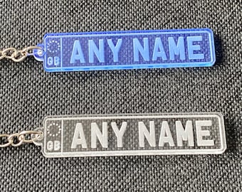 Personalised Car Registration style Acrylic Keyring - Name, Car name, joke gift, Pets Name