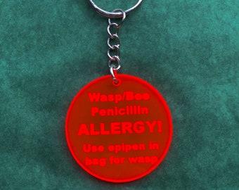 Medical Alert Keyring, Medical Alert Bag Tag, Medical Bag Fob, Epipen Awareness, Allergy Keyring, Penicillin Keychain, Emergency Keyring