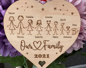 Personalised Family Portrait Decoration Large Hanging Heart, Stick Family, Our Family, Gift for Friends, Family, Birthday Gift, My Family