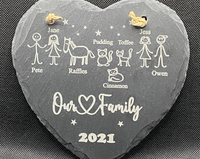 Featured listing image: Personalised Slate Family Heart Hanging Decoration - Perfect Gift