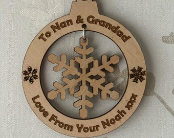 Personalised Christmas Tree Decoration Snowflake Design, Custom Christmas Tree Decoration, Family Keepsake, Christmas Bauble, Christmas Gift