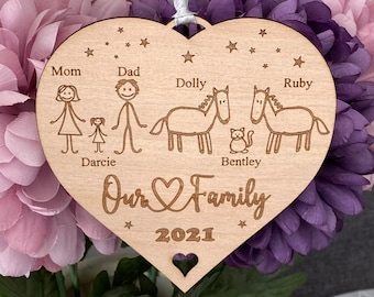 Personalised Family Portrait Decoration Hanging Heart, Stick Family, Our Family, Gift for Friends, Family, Birthday Gift, Celebration Gift
