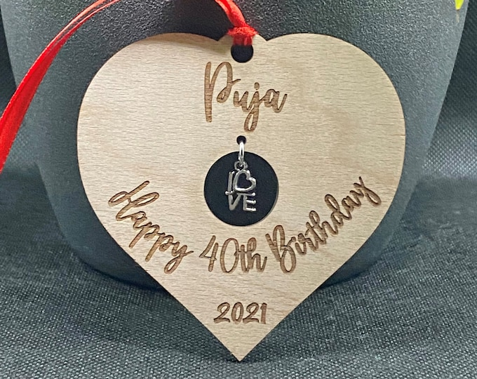 Featured listing image: Personalised Birthday Gift, Hanging Heart Decoration, Unique Gift, Anniversary Gift, Custom Gift, Gift for Her, Keepsake Gift, Decoration