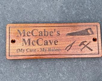 Personalised Solid Wooden Sign, Man Cave, Custom Plaque, Gift for Dad, Grandad, Husband, Garden Shed Sign, Bar Sign, Games Room Sign, Spa