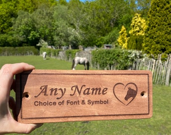 Personalised Stable Door Sign Sapele Wood, Choice of Design, Stable Plaque, Horse Name Plate Equestrian Plaque, Pony Name Plaque, Horse Gift