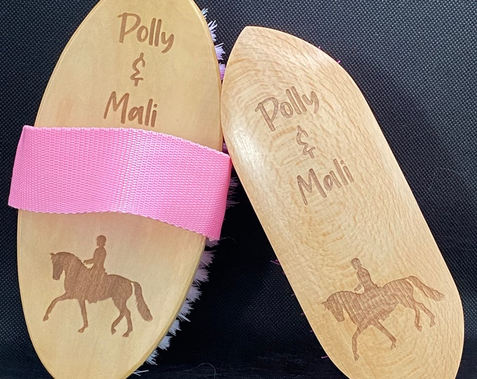 Featured listing image: Personalised Grooming Brush set - Body Brush and Dandy Brush  - Dressage themed