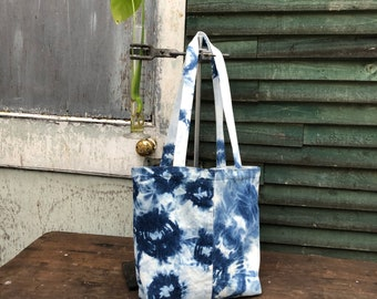 Winter snowflake mandala shibori ice dyed by hand cotton tote bag for life