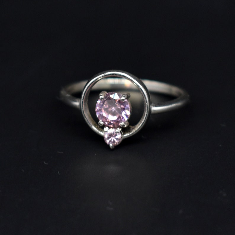 925 Sterling Silver Circle Ring With Purple CZ Sparkly Crystal Stone 18k Gold Filled Ring Minimalist Everyday Stacking Ring Engagement Ring