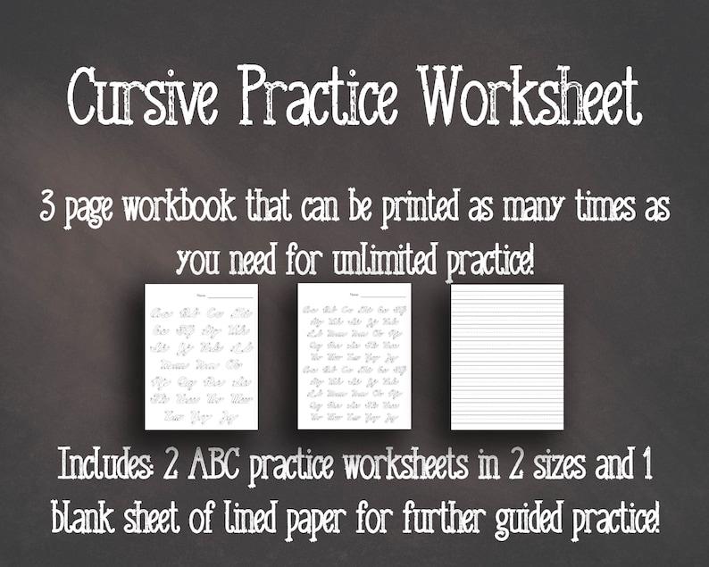Cursive Handwriting Worksheet  Printable Writing Packet  3 image 0