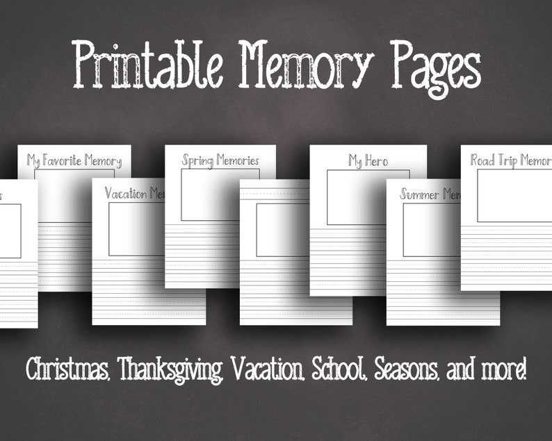 Memory Pages Printable  Children's Journal Pages  Record image 0