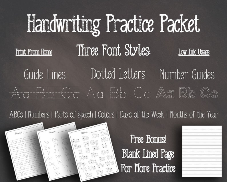 Handwriting Practice Packet Printable  Trace Letters and image 0