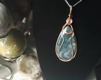 wire wrap Moss agate necklace crystal healing wire weave
