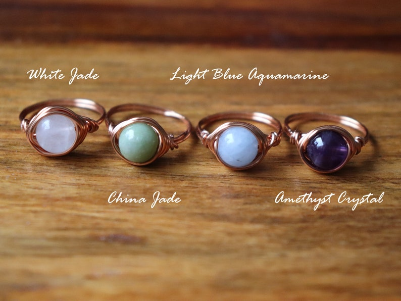 Copper gemstone ring  stackable copper rings  copper wire image 0