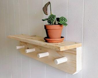 Shelf with hooks, Wooden towel rack, Entryway decor, Coat rack, Shelf with peg, Bathroom shelf, Kitchen organization, Wall mount shelf