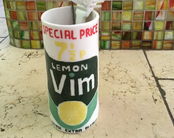 utensil pot to resemble a vintage vim container (sell to UK only)