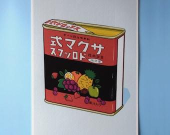 Edwardian Style Period Small Round Tin Box Tin English Box Grapefruit Drops Tin Candy Box Citrus Tin Box Made in England Trinket Box