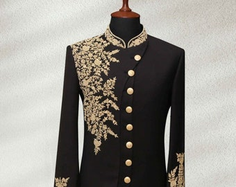 Vastraas Stylish Ethnic Designer Wedding Wear Groom Outfit Traditional Partywear Navy Blue indo western Dress With Harem.