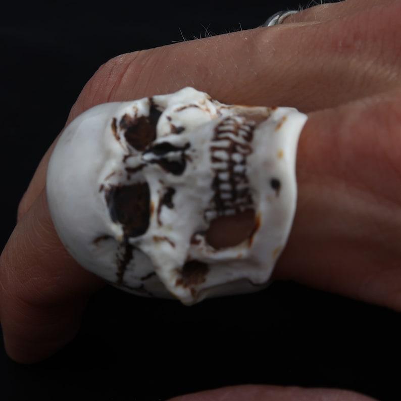Moose Horn Carving Bone Ring US Size 12 12 Gift Natural Elk Horn \u0421ollectible Ring Biker Ring Skull Ring Male Ring