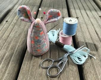Little Milo Mouse Pin Cushion Blue Velvet