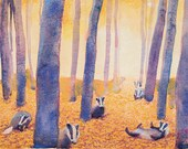 High quality art poster of watercolour by Anna Maria Vargiu: The badger meeting