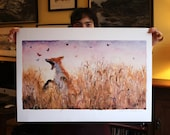 High quality art poster of watercolour by Anna Maria Vargiu: The butterfly hunt