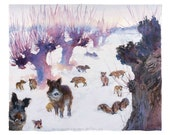 High quality art poster of watercolour by Anna Maria Vargiu: Wild boars in the snow