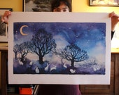 High quality art poster of watercolour by Anna Maria Vargiu: White rabbits in the moonlight
