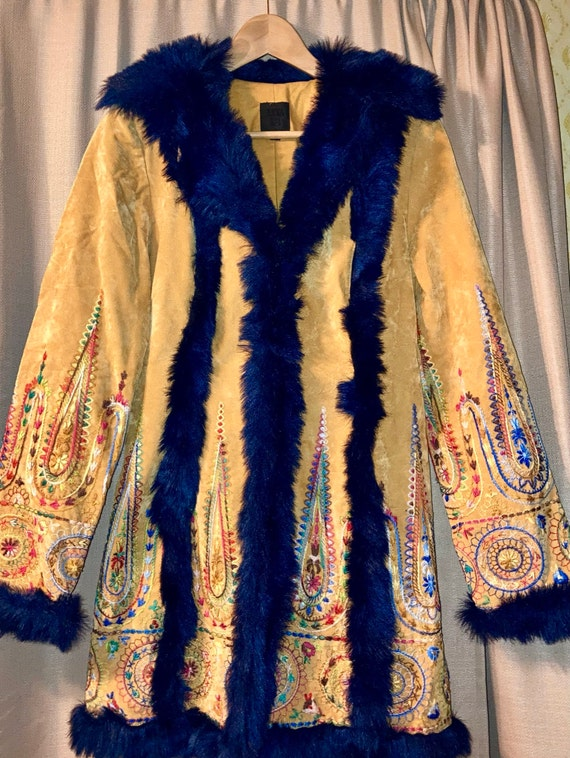 Anna Sui multi color light weight embroidered coat