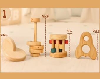 Montessori 4-8 Month Baby Set of Toys. Montessori Infant Set 4-8 Month Motor Development Set. Essential Montessori Baby Shower Gift Set