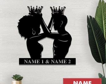 BUY 1 GET 1, Black King & Queen Metal Sign, Black Couple Sign, King and Queen Black Love, Wedding Anniversary, Gift for Her, Gift for Him