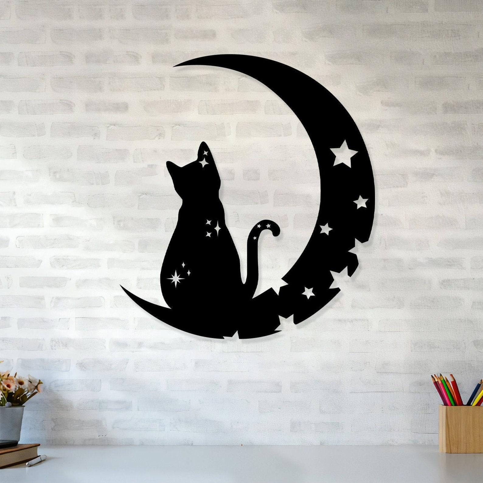 Moon and Stars Cat Metal Wall Art