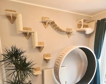 5 Piece Wall Cat Playground - Cat Stairs + Cat Bridge + 2x Shelves + Climbing Box Bed