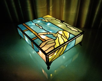 Handmade Stained Glass, Handmade Stained Glass Large Wedding Box, Stained Glass Unique Jewelry Box, Stained Glass Art Box