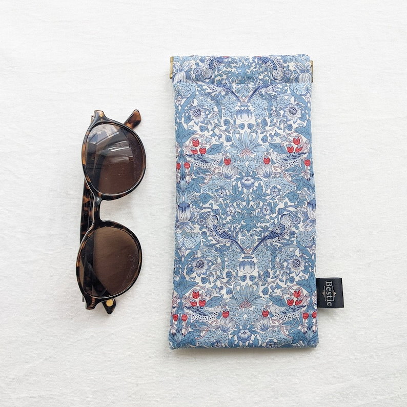 Art botanical fabric Soft Pouch Summer Accessory\u00a0Gift. Liberty /'Strawberry Thief Spring/' Padded Glasses Holder Sunglasses Case