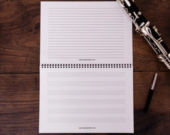 Music Notebook with Manuscript Paper and Lined Paper - 6 Staves of Staff Paper and Note Paper A4 Landscape (11.7 x 8.3 inches)