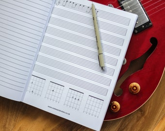 Guitar Tab Paper Notebook with Tablature and Lined Paper with Chord boxes - Great for learning guitar! (8.5 x 11 inches)