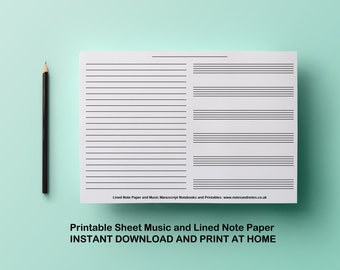 Printable Sheet Music and Lined Note Paper Blank Manuscript Paper US Letter + A4 sizes Instant Download Music Paper PDF