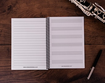 Music Notebook - Manuscript Paper and Space for Notes - For Learning or Composing Music 6 Staves A5 (5.8 x 8.3 inches)
