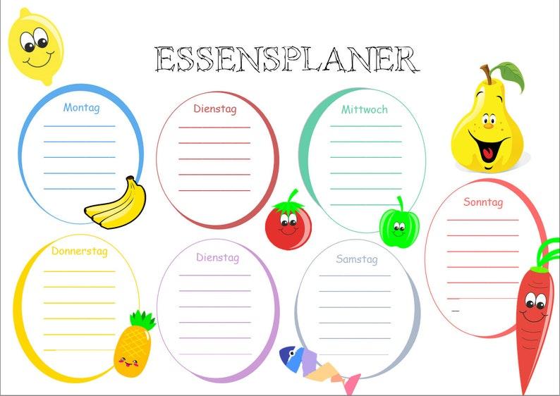 Men\u00fcplaner- Essensplaner f\u00fcr Kinder Printable PDF Deutsch Format DIN A4