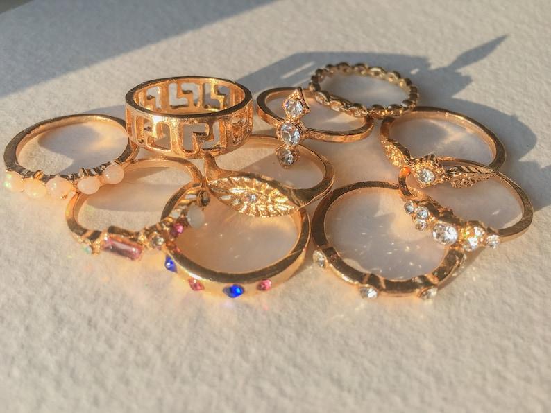 Indie Beach Rings Bohemian vintage Retro Stacking Midi Ring Summer Golden Rings Metallic Fashion Fingers Rings