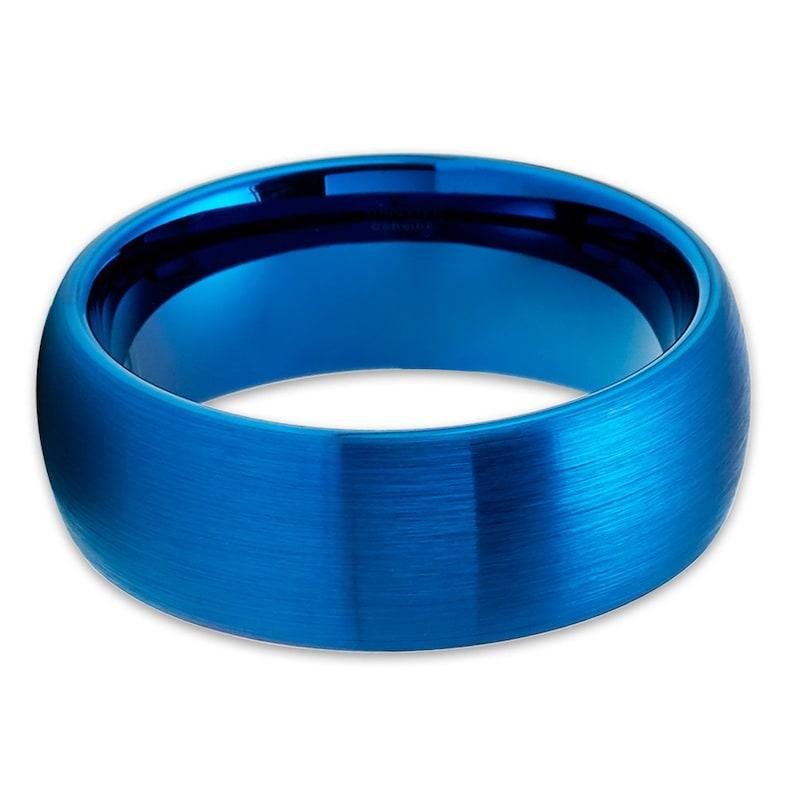 Blue Tungsten Wedding Ring|Blue Wedding Ring|Anniversary Ring|Tungsten Carbide Ring|Brush Tungsten Ring|8mm Wedding Ring|Engagement Ring