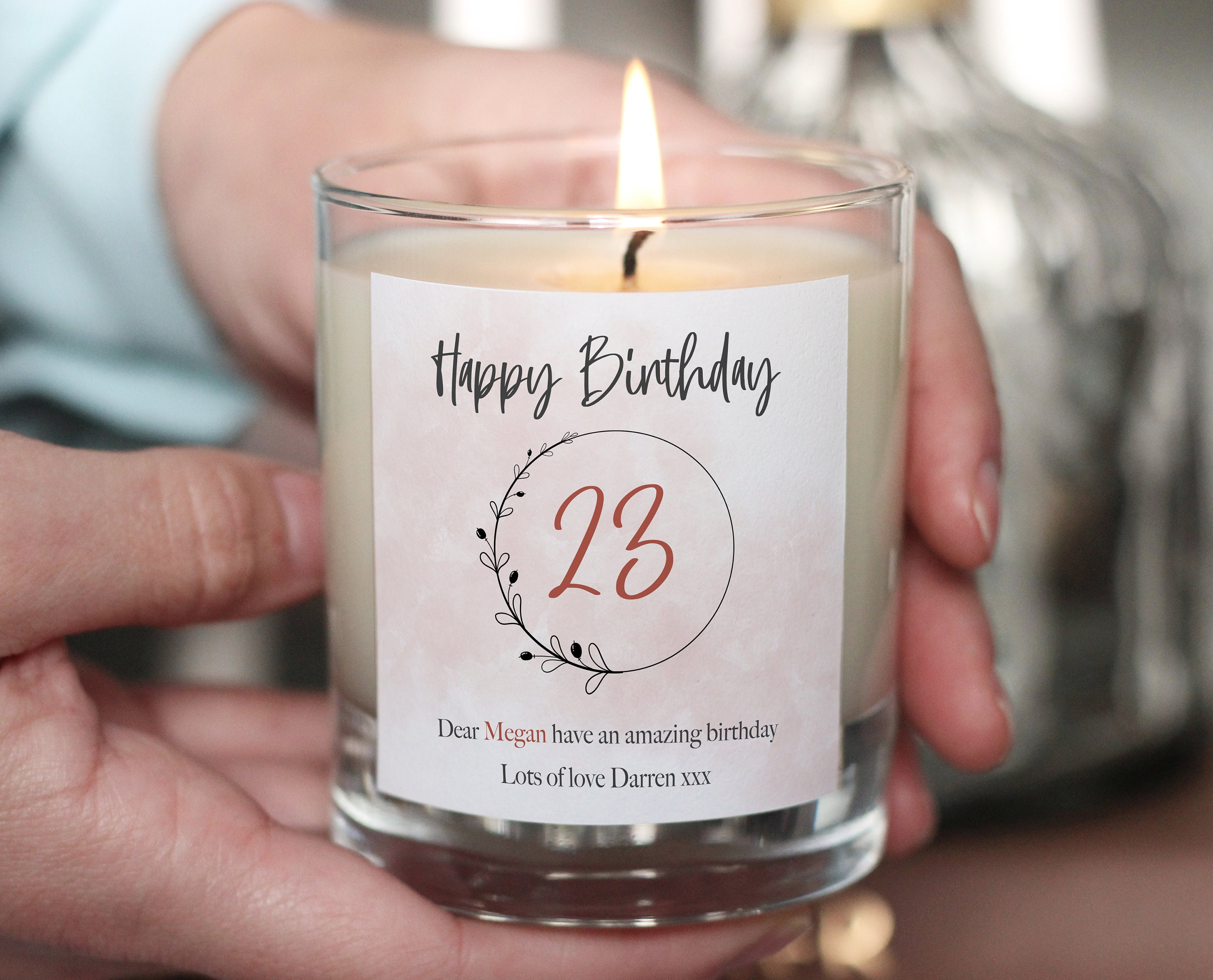 Wife Birthday Gift Personalised Candle