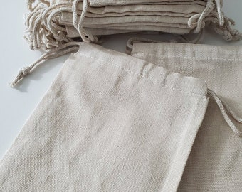 Canvas Cotton Thick Fabric Double Drawstring Bags. Cotton Reusable Muslin Bags. Premium Quality. Best for Storage Packaging and Grocery