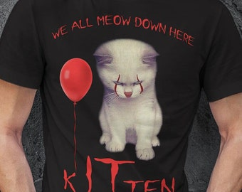 Kitten IT Pennywise Hoodie IT Balloons Halloween Horror Creepy Scary Meow Top